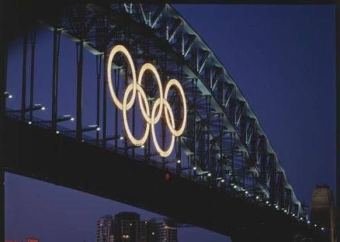 THE SYDNEY 2000 HARBOUR BRIDGE OLYMPIC RINGS
