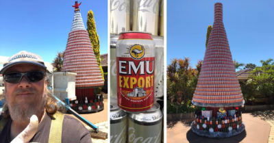 'Mad Bogan' West Australian creates giant Christmas Tree from Emu Export cans